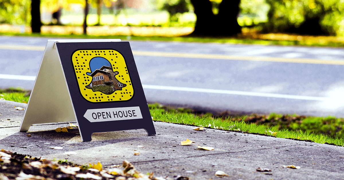 snapchat sign on a lawn advertising an open house